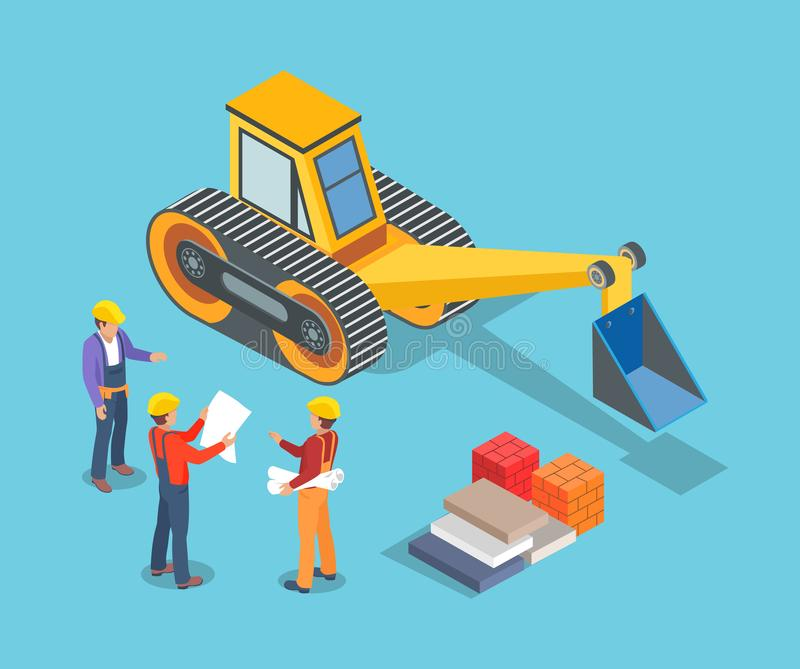 Excavator and Builders, Construction Machinery. Vector. Digger with shovel, workers with plan and containers. Boxes and concrete blocks building items stock illustration