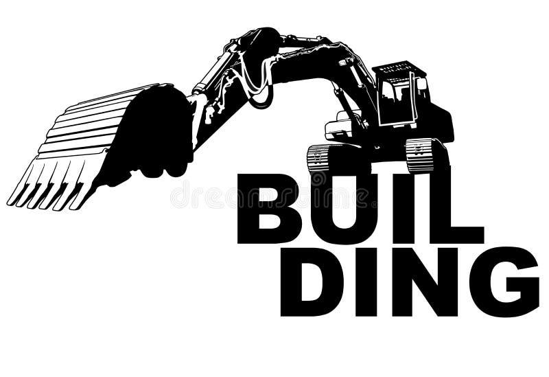 Excavator building. Art illustration vector stock illustration