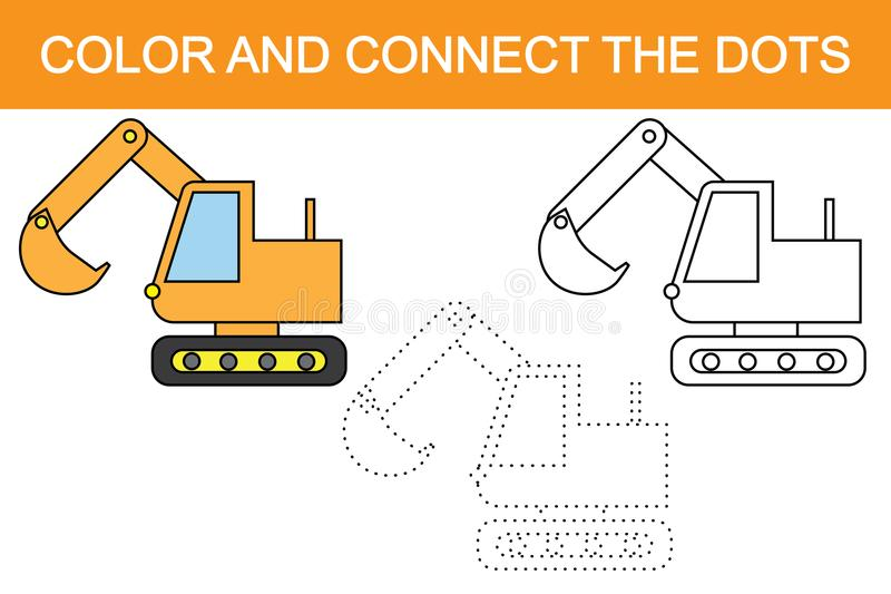Excavator cartoon. Educational game for children. Color and connect the dots. Excavator cartoon. Educational game for children. Color and connect the dots vector illustration