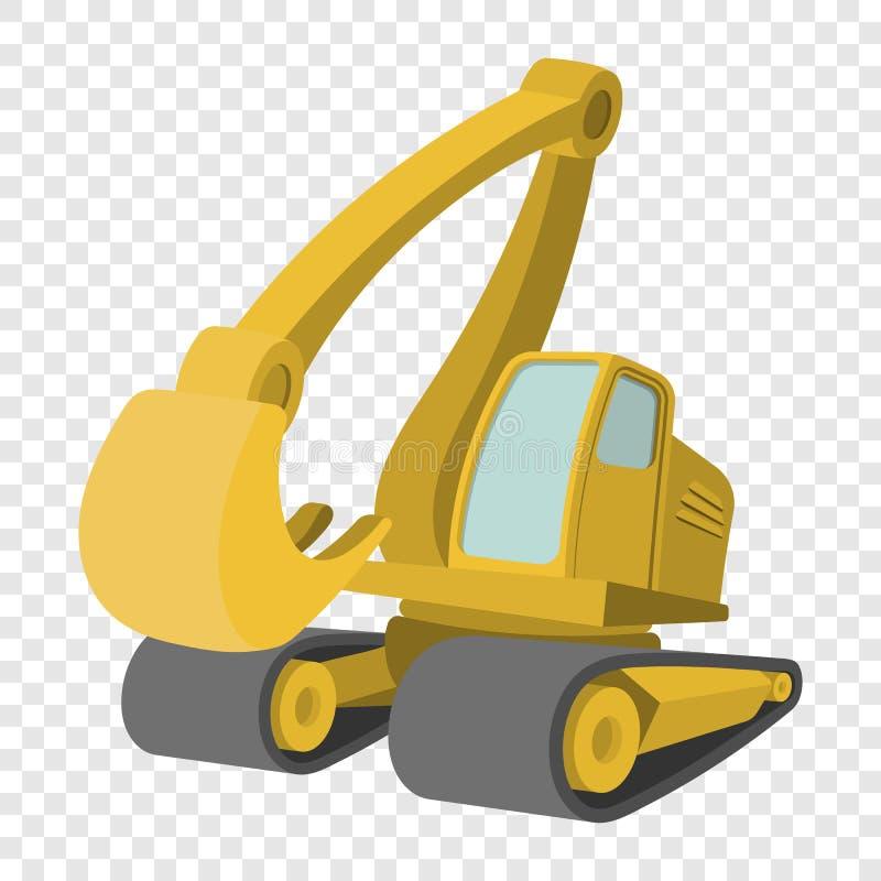 Excavator cartoon icon. Single yellow cartoon symbol on transparent background vector illustration