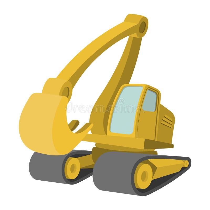 Excavator cartoon icon. Single yellow cartoon symbol on a white vector illustration