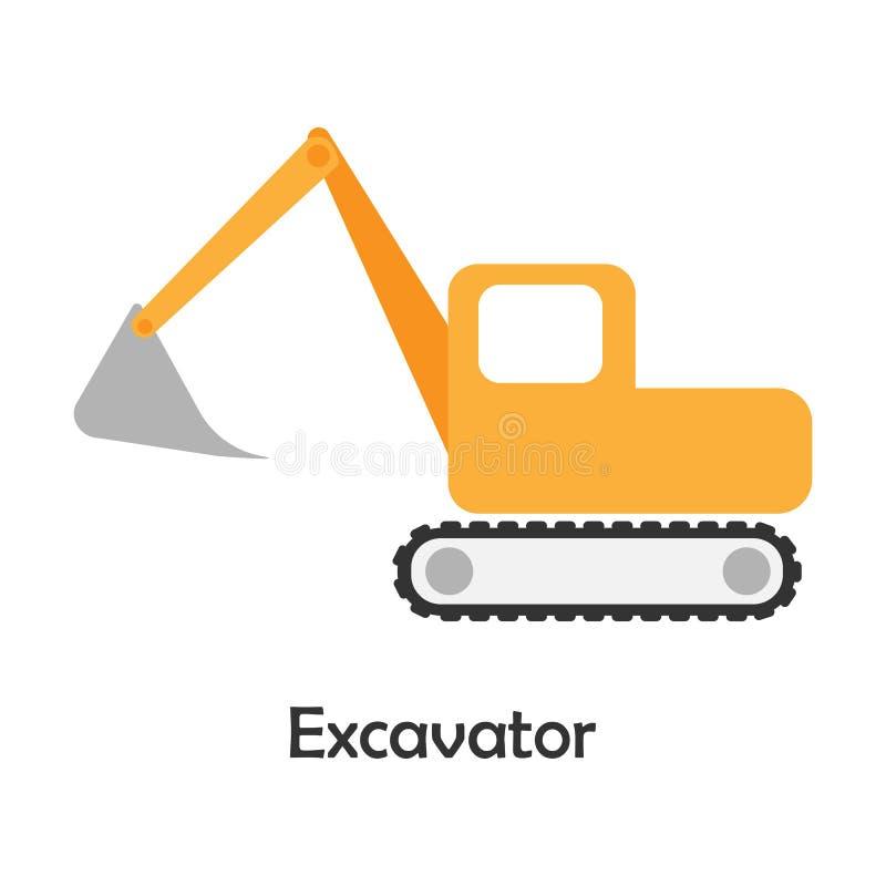 Excavator in cartoon style, card with transport for kid, preschool activity for children, vector illustration vector illustration
