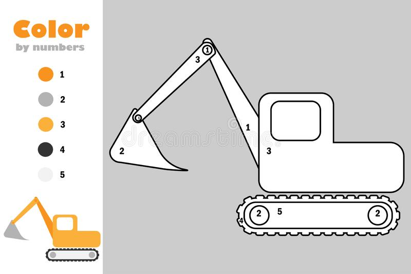 Excavator in cartoon style, color by number, education paper game for the development of children, coloring page, kids preschool. Activity, printable worksheet stock illustration