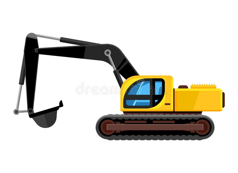 Excavator cartoon. yellow construction vehicle digger with scoop loader bulldozer vector car for construction stock illustration