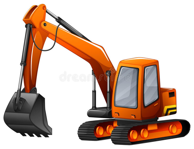 Excavator. Closeup excavator with big shovel vector illustration