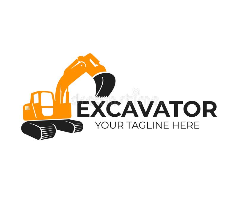 Excavator, construction and industrial machinery, transport and construction, logo template. Backhoe, digger and crawler excavator vector illustration
