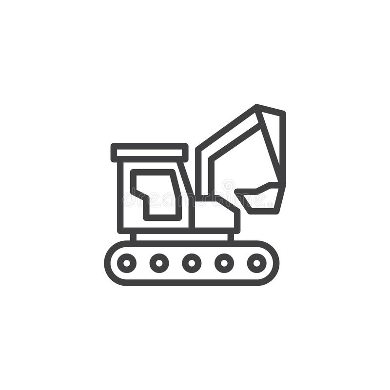Excavator construction machinery line icon. Linear style sign for mobile concept and web design. Industry truck outline vector icon. Construction machine vector illustration