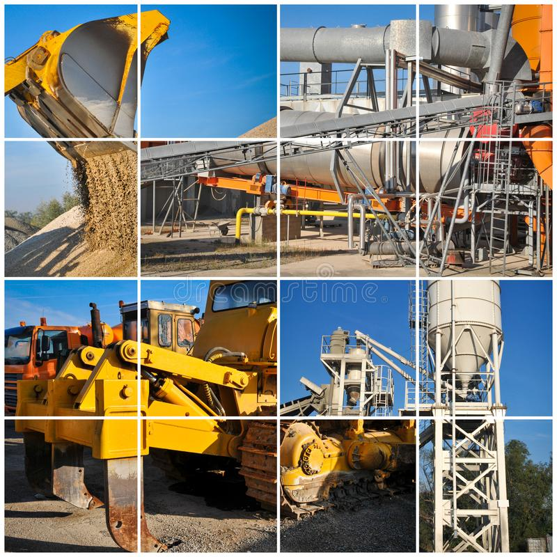 Excavator on construction site collage image. Excavator on construction site collage royalty free stock photography