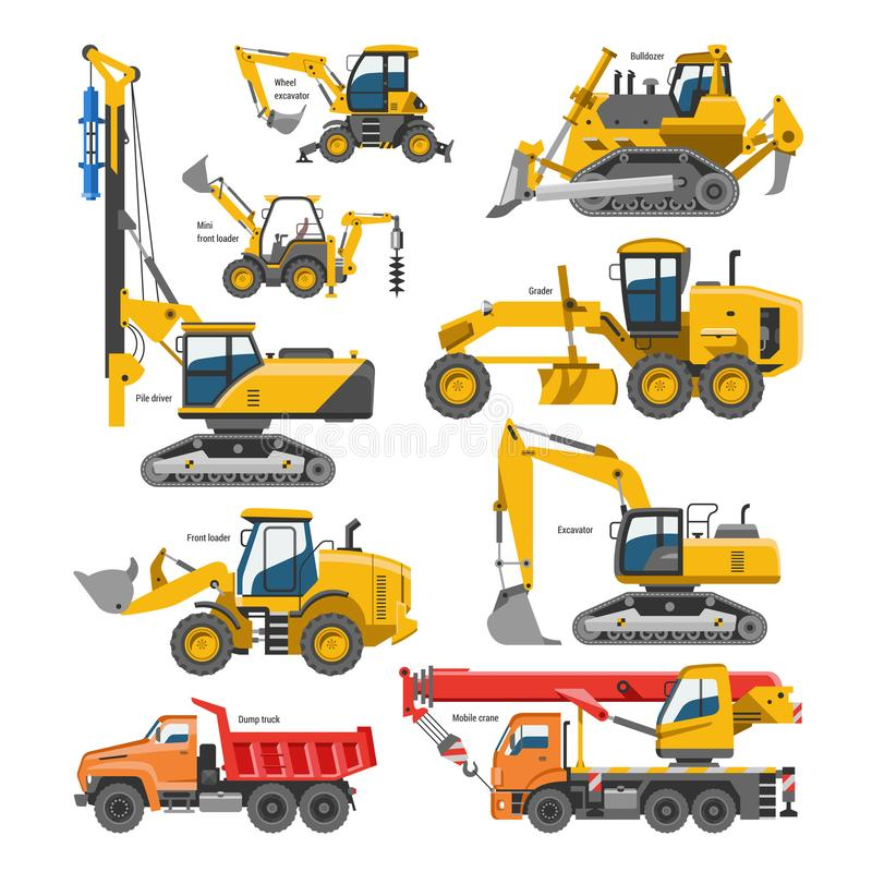 Excavator for construction vector digger or bulldozer excavating with shovel and excavation machinery industry stock illustration