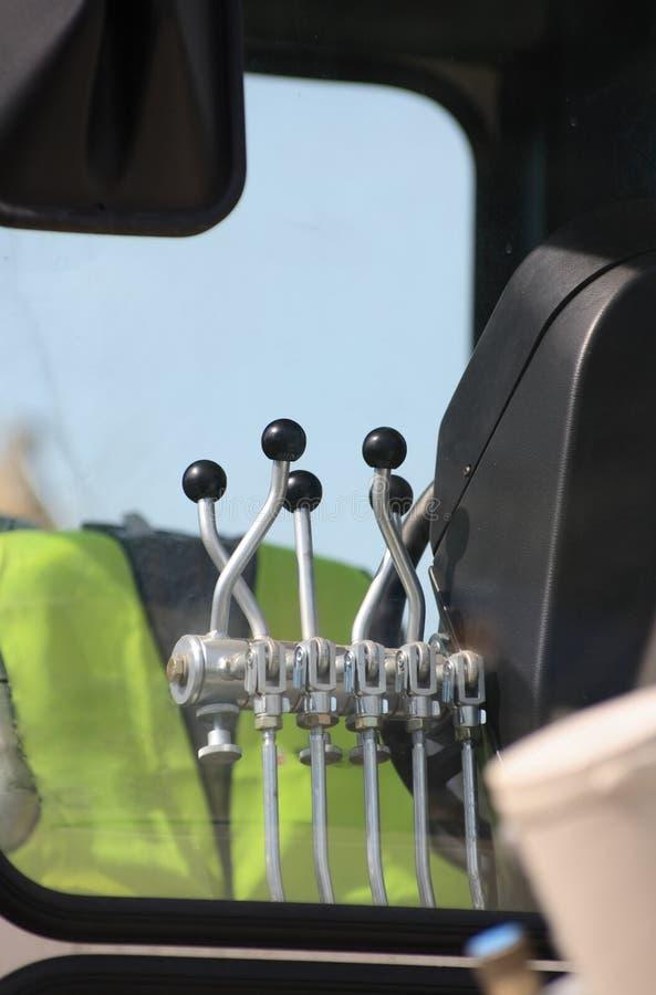 Excavator control levers. stock photo. Image of iron - 12866296