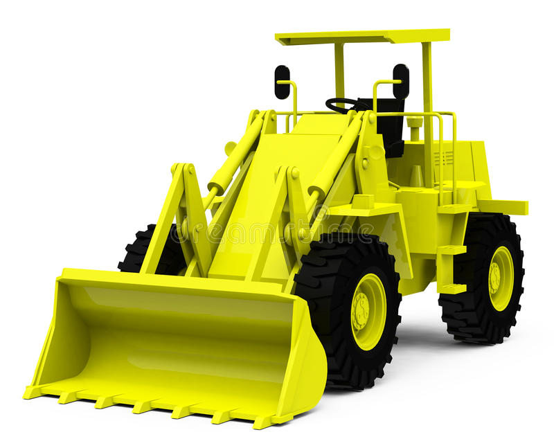 The excavator. 3d generated picture of a yellow excavator royalty free illustration