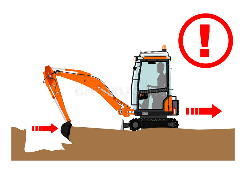 The excavator dangers. Safety warning for working with excavator. Vector illustration without gradients on one layer royalty free illustration