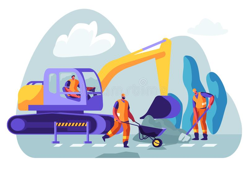 Excavator Dig Hole in Ground, Male Workers Remove Soil with Shovel and Wheelbarrow. Bagger Excavating Work on Foundation. Road Repair, Construction Machinery vector illustration