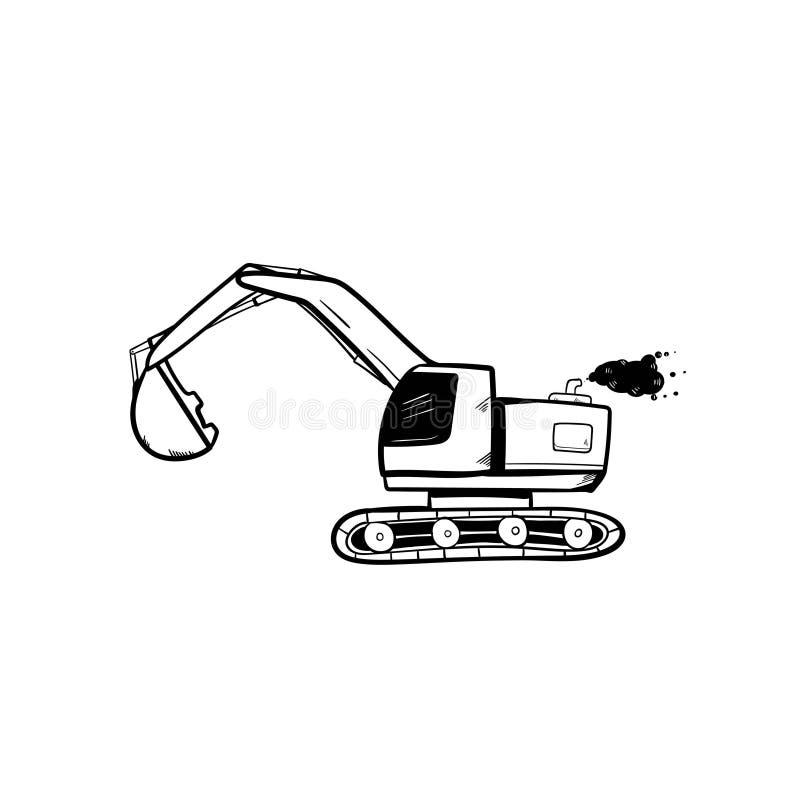 Excavator doodle icon vector hand draw.  vector illustration