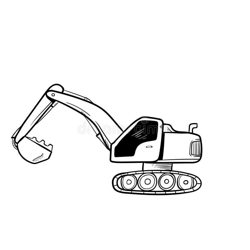 Excavator doodle icon vector hand draw.  stock illustration