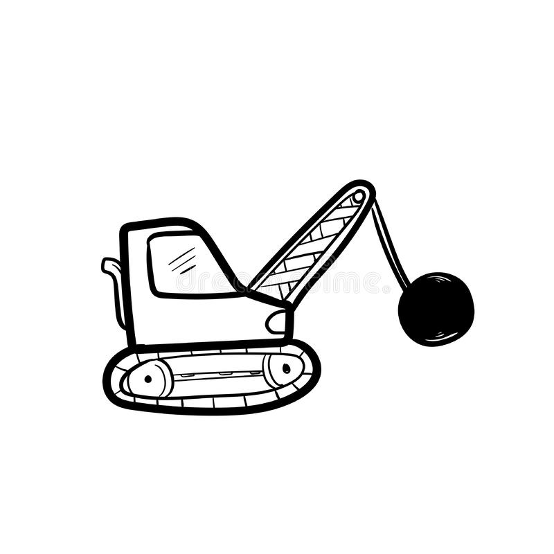 Excavator doodle icon vector hand draw.  vector illustration