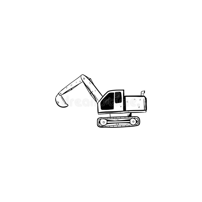 Excavator doodle icon vector hand draw.  royalty free illustration