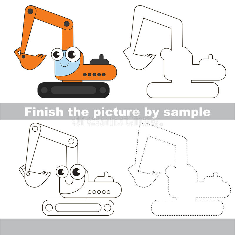 Excavator. Drawing worksheet. Drawing worksheet for children. Easy educational kid game. Simple level of difficulty. Finish the picture and draw the cute stock illustration