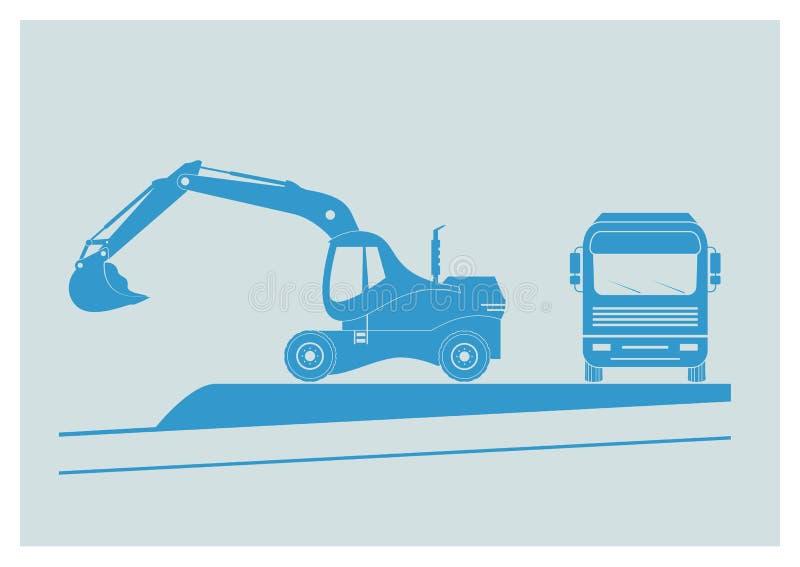 Excavator And Dump Truck stock illustration