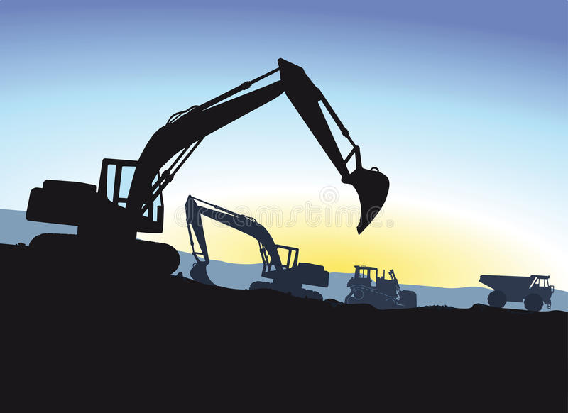 Excavator. During excavation, silhouettes against blue sky vector illustration