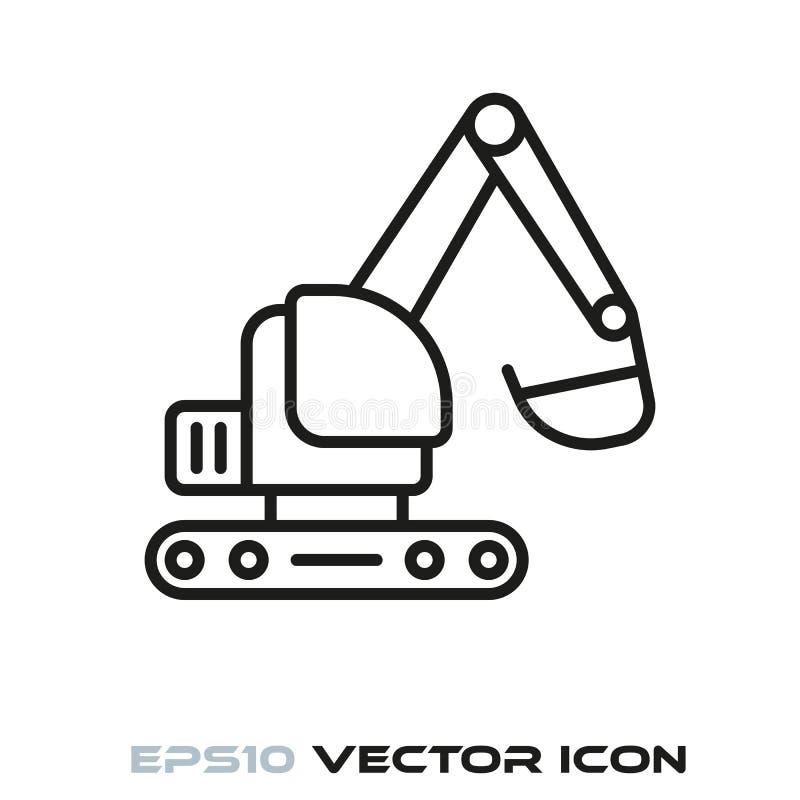 Excavator flat line icon. Vector stock illustration