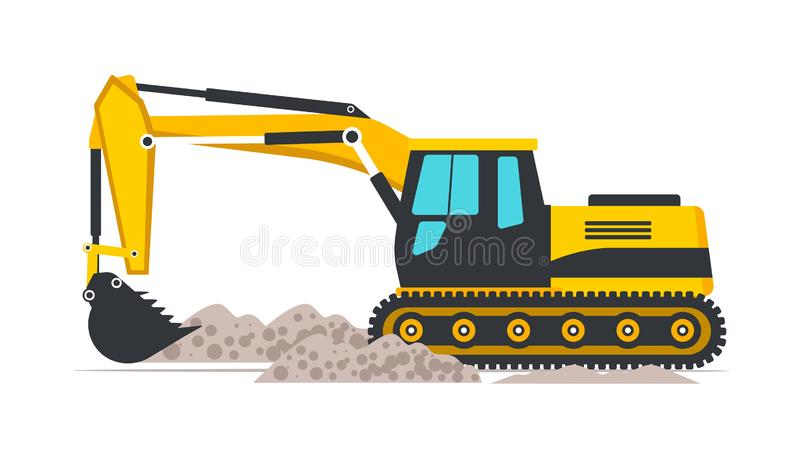Excavator flat vector illustration. Road works, building construction. Professional heavy machinery isolated design element. Yellow industrial backhoe digging royalty free illustration
