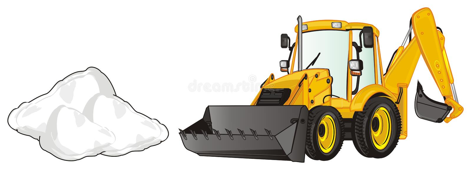 Excavator and heap. Yellow excavator with little heap of snow stock illustration
