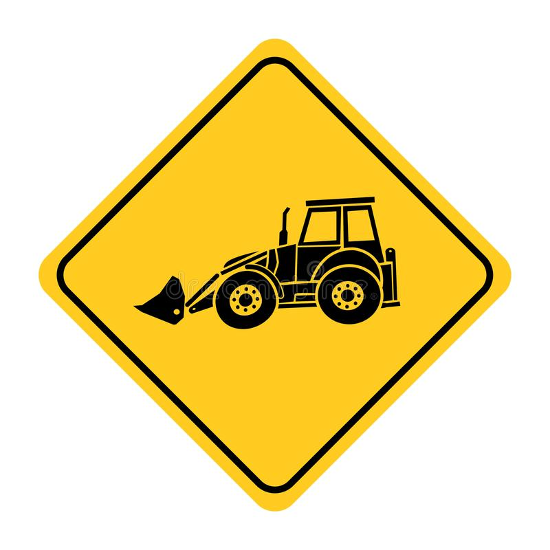 Excavator heavy machinery road sign drawing by illustration vector illustration