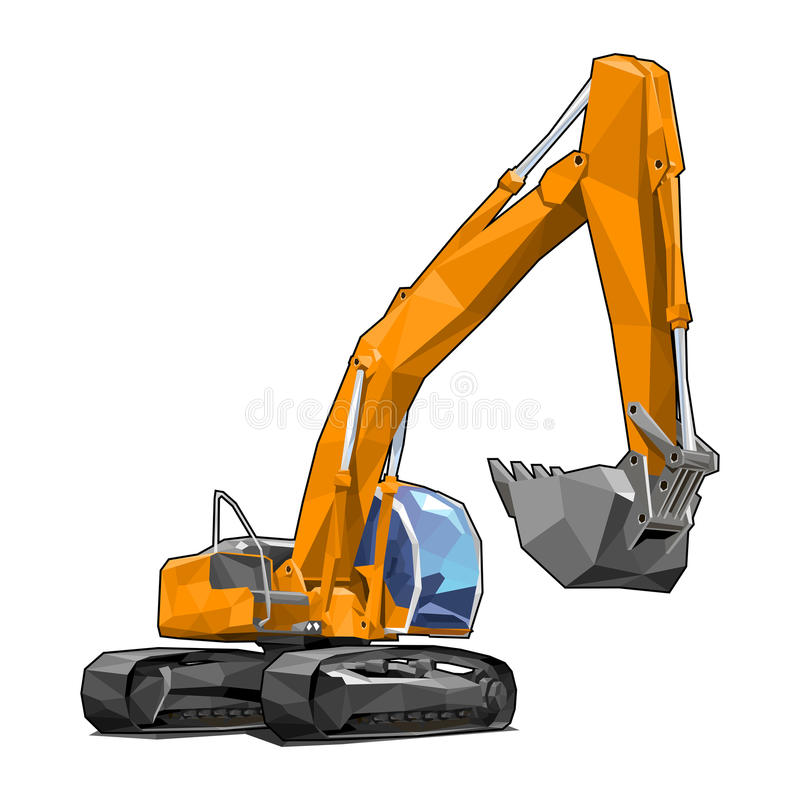 Excavator. Heavy tracked orange excavator isolated on white background in polygonal style. Solid fill only, no gradients vector illustration