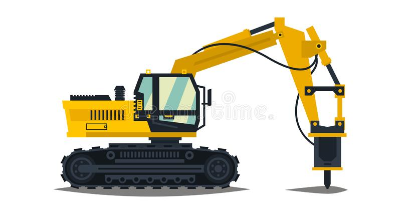 Excavator with his hammer. Hydraulic crusher. Yellow, isolated on white background. Construction machinery. Special. Equipment. Vector illustration. Flat style stock illustration