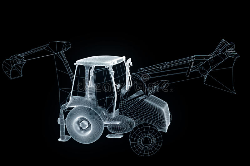 Excavator in Hologram Wireframe Style. Nice 3D Rendering royalty free stock photo