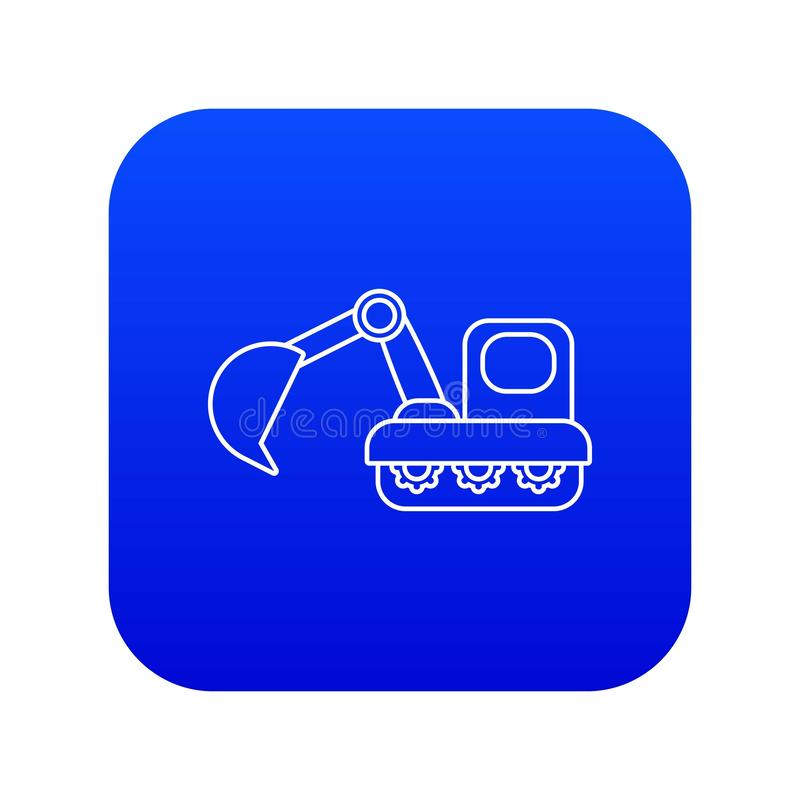 Excavator icon blue vector. Isolated on white background royalty free illustration