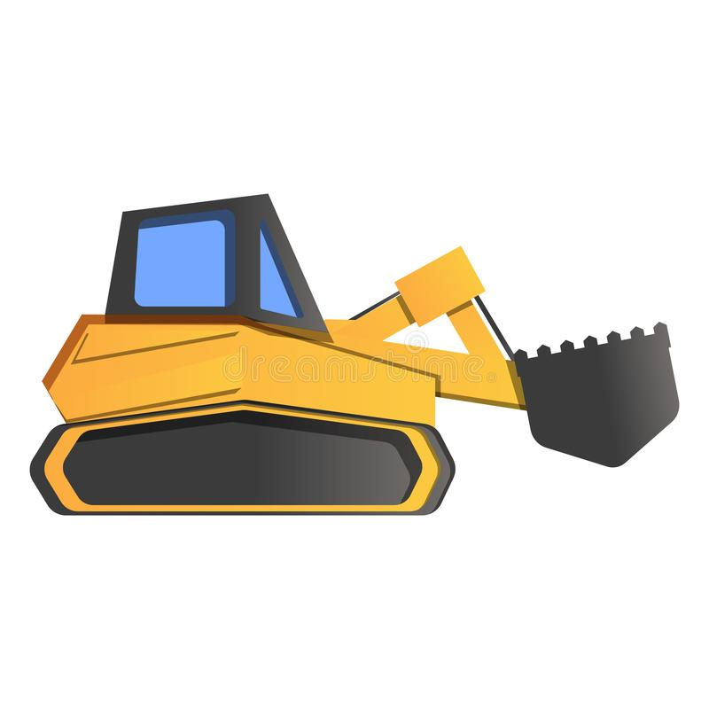 Excavator icon, cartoon style vector illustration