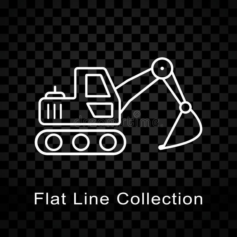 Excavator icon on checkered background. Illustration of excavator icon on checkered background royalty free illustration