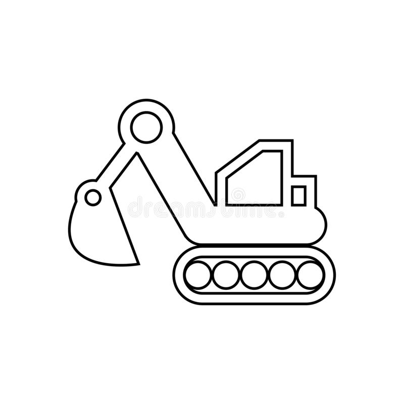 excavator icon. Element of transport for mobile concept and web apps icon. Outline, thin line icon for website design and vector illustration