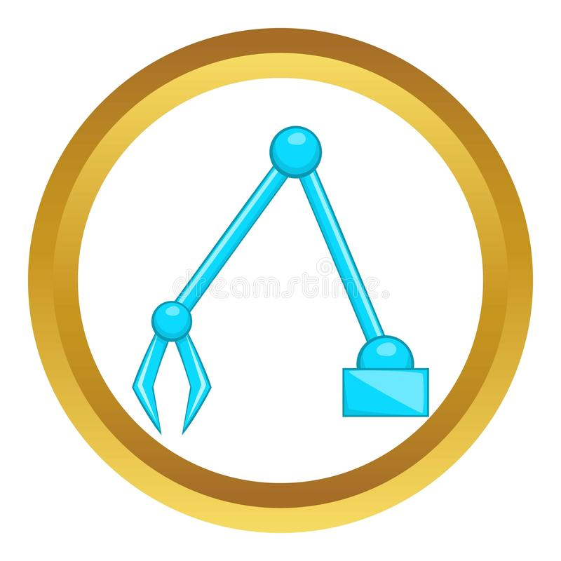 Excavator icon. In golden circle, cartoon style isolated on white background royalty free illustration