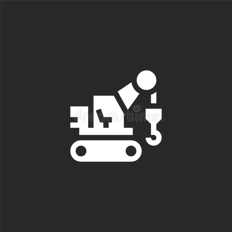 Excavator icon. Filled excavator icon for website design and mobile, app development. excavator icon from filled industry. Collection isolated on black vector illustration