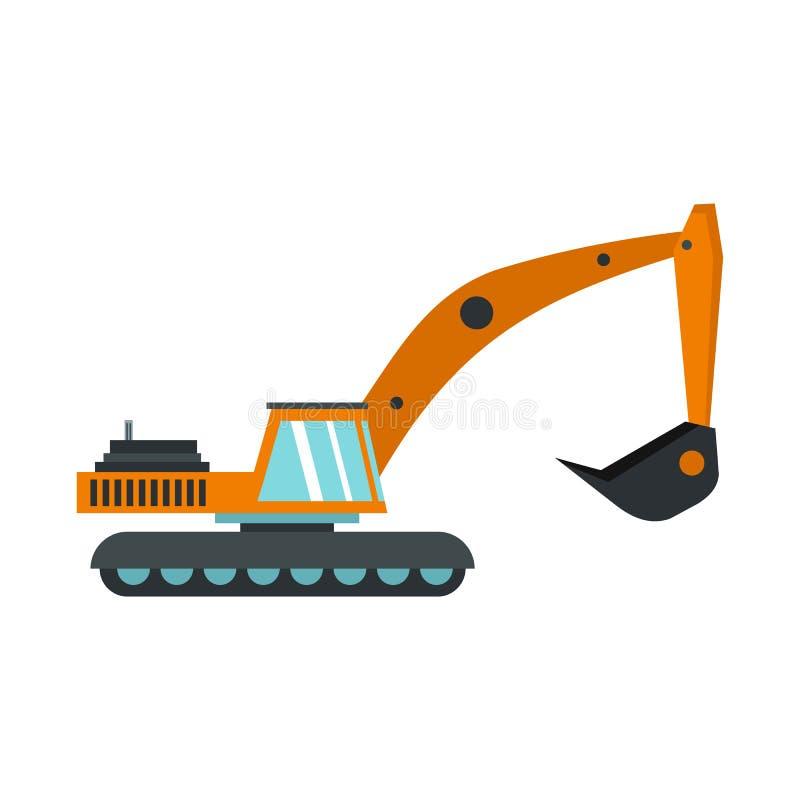 Excavator icon, flat style. Excavator icon in flat style isolated on white background. Digging machine symbol illustration vector illustration