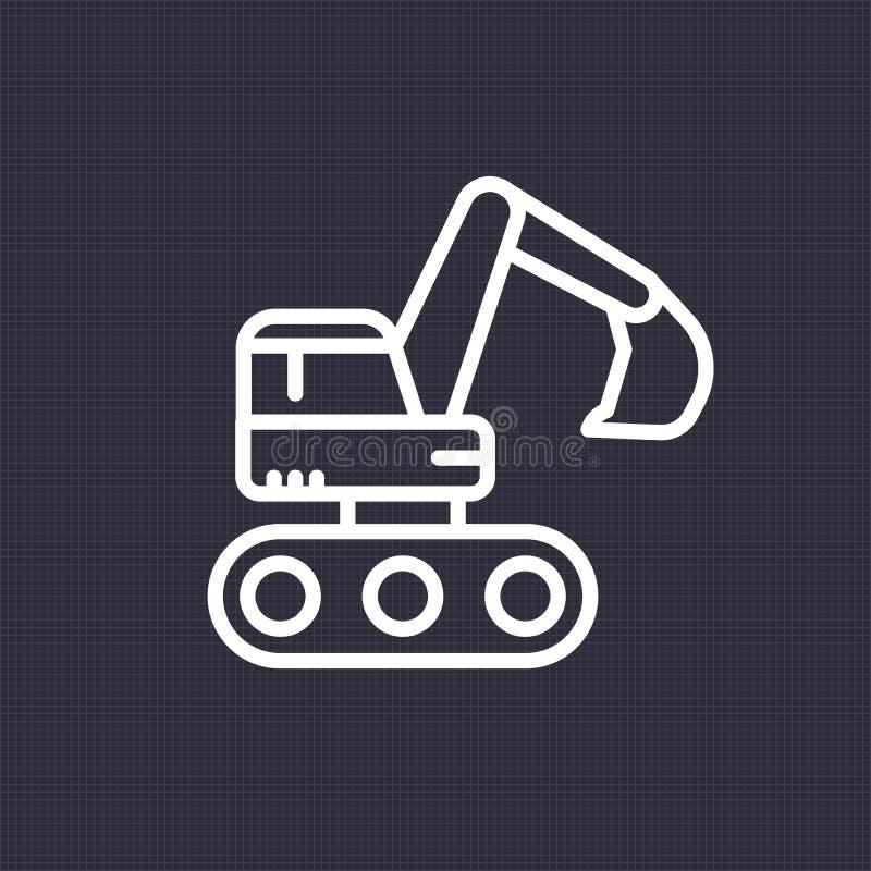 Excavator icon, linear pictogram. Excavator icon, sign, linear pictogram, vector illustration stock illustration