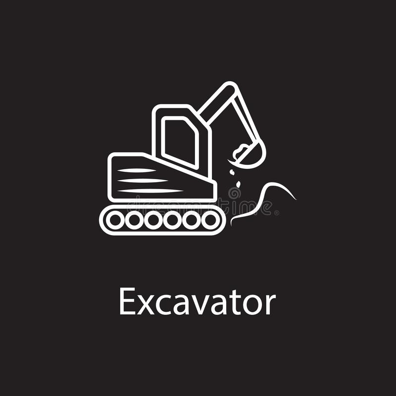 Excavator icon. Simple element illustration. Excavator symbol design from Construction collection set. Can be used in web and. Mobile on dark background stock illustration