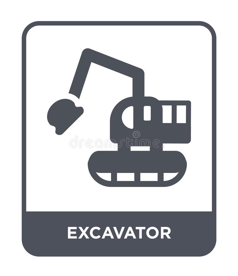 Excavator icon in trendy design style. excavator icon isolated on white background. excavator vector icon simple and modern flat. Symbol for web site, mobile royalty free illustration