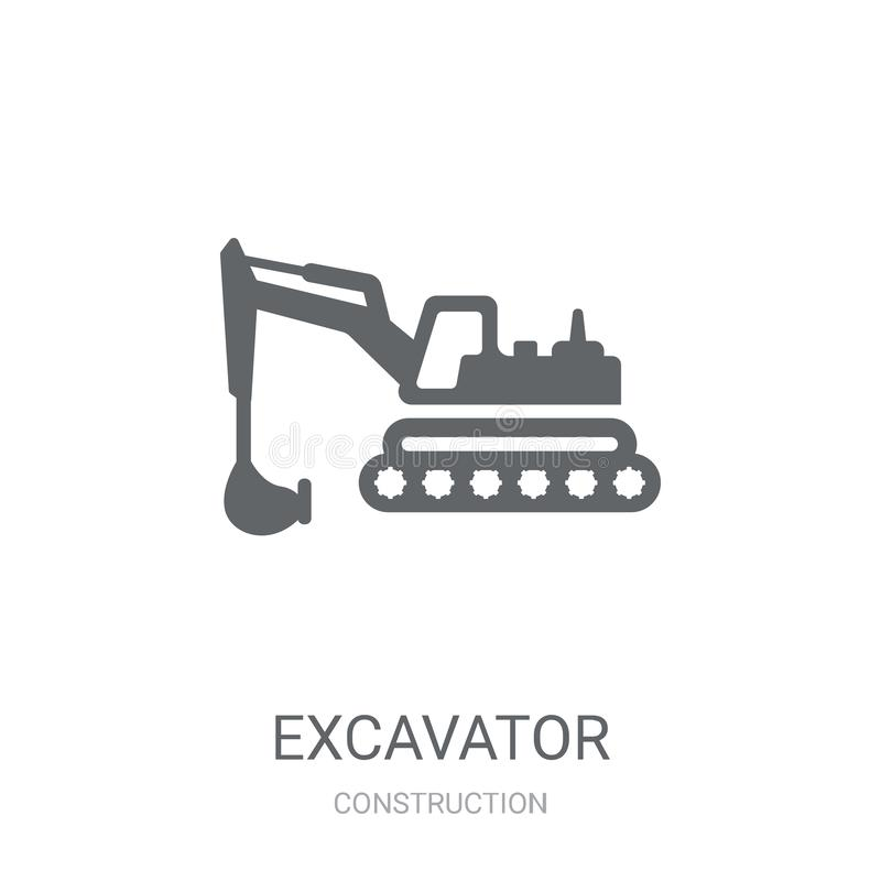 Excavator icon. Trendy Excavator logo concept on white background from Construction collection. Suitable for use on web apps, mobile apps and print media vector illustration