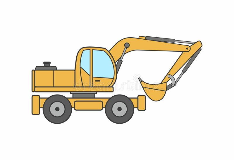 Excavator icon vector. Icon Excavator isolated on white background royalty free illustration