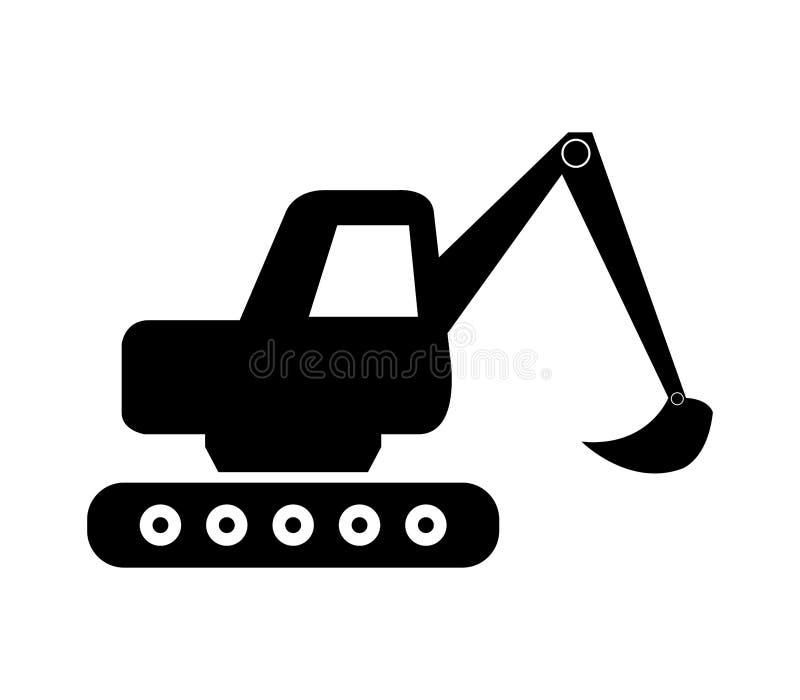 Excavator icon. On white background vector illustration