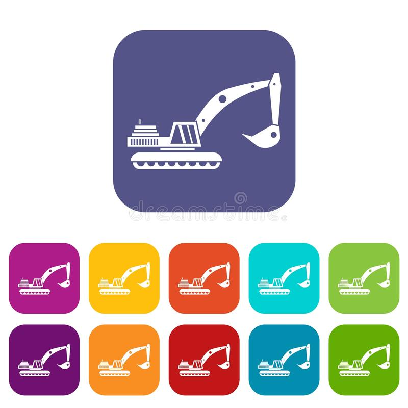 Excavator icons set. Vector illustration in flat style in colors red, blue, green, and other vector illustration