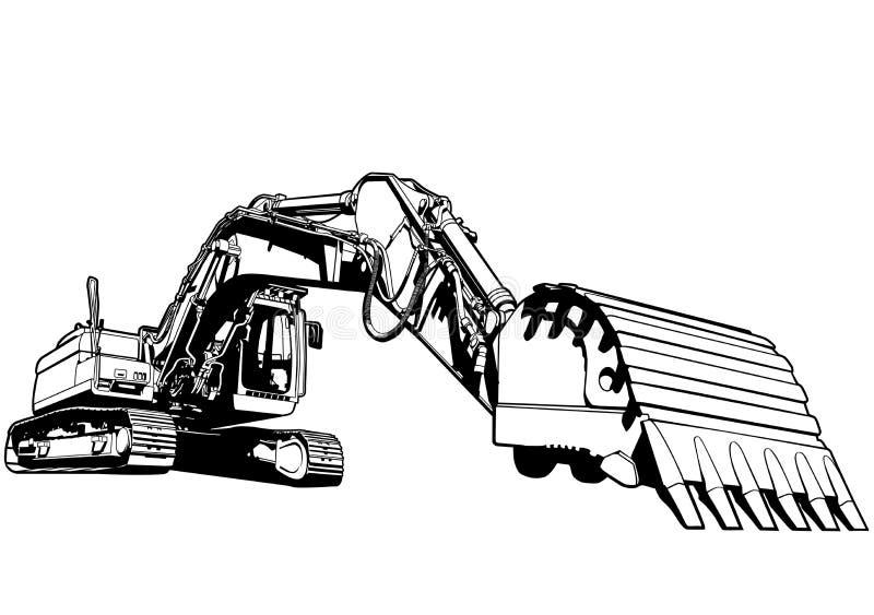 Excavator illustration. Art vector industries theme royalty free illustration