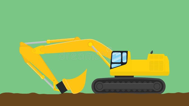 Excavator illustration with green background vector illustration