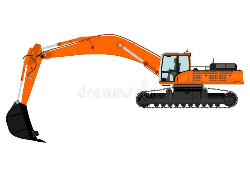 Excavator. Illustration of orange excavator on tracks. Vector vector illustration