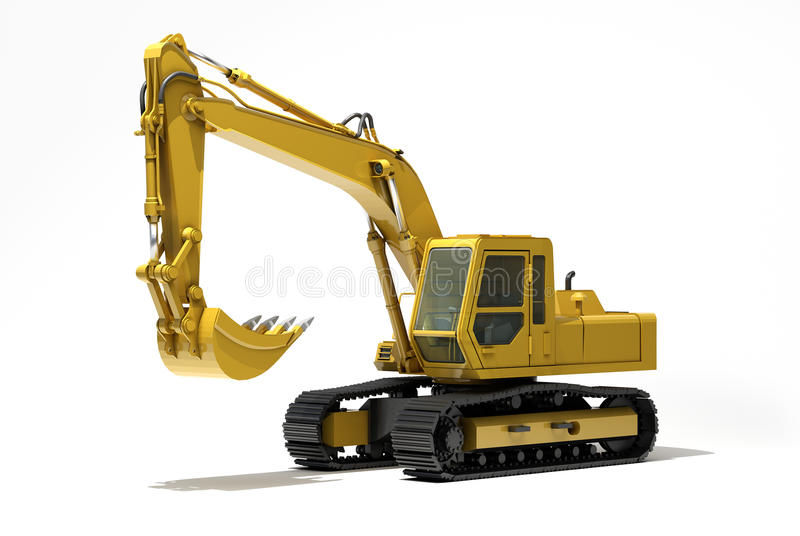 Excavator isolated. Excavator on a white background, with reflection and shadow vector illustration