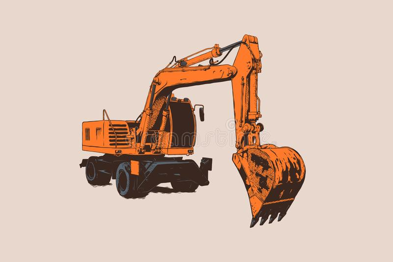 Excavator. Isolated. Special equipment. Construction machinery. Vector illustration. Construction equipment. Heavy machinery object. Children toy. Good for stock illustration